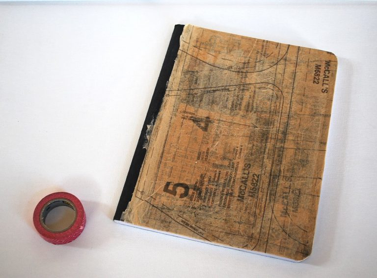 Flashback Friday!  ~Sewing Pattern Tissue & Washi Tape Sketchbook ~A Tutorial~
